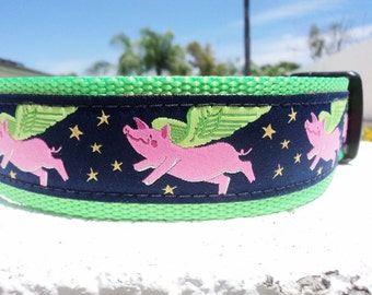 "Large Dog Collar, 1.5"" When Pigs Fly, Quick Release or Martingale collar, - detailed info within - see 1"" width collar link within"