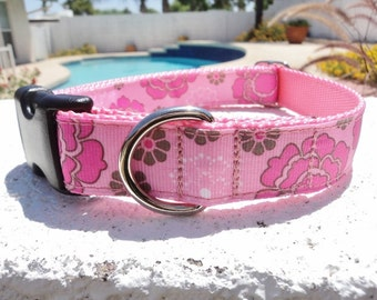 """Sale Girl Dog Collar Pretty in Pink 1"""" width Side Release buckle adjustable - martingale style is a cost upgrade"""