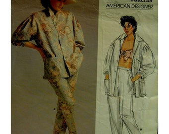 80s Ralph Lauren Tapered Pants Pattern, Artist's Smock Jacket, Unlined, Collar, Full Sleeves, Pockets, Vogue No. 1558 Size 8