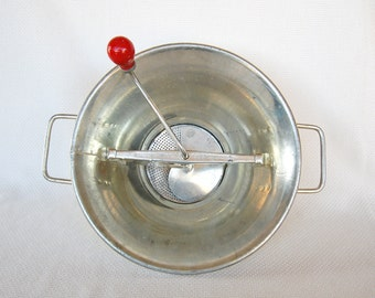 Very Large Vintage Brevete Food Mill Red Handle Made in France for Home Canning Primitive Food Processor
