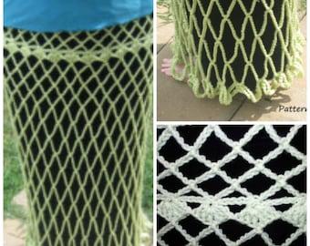 Crochet Lacy Overskirt PDF Pattern, SCA Renfair Costume, Swim Suit cover up