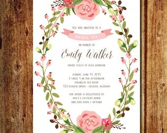 Pink Floral Wreath Bridal Tea Invitation