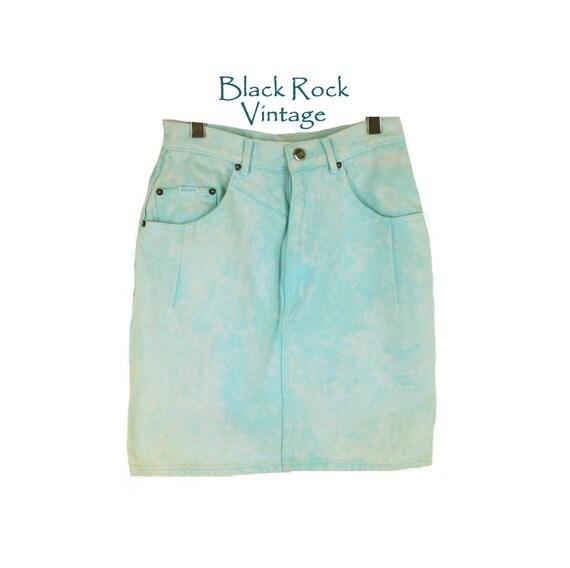 acid wash denim skirt high waist mini skirt vintage 1980s