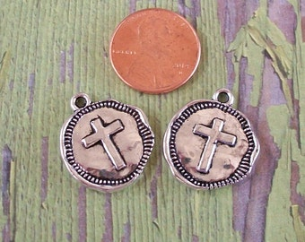 Antiqued Silver Pewter Cross Coin Charms