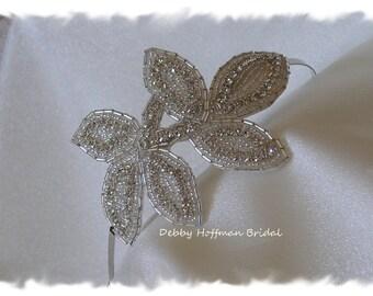 Jeweled Wedding Headpiece, Bridal Headband, Rhinestone Leaf Bridal Hair Piece, Beaded Crystal Ribbon Headband, Leaf Headband, No. 5010HB