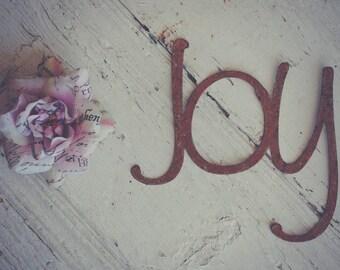 Joy Rusty Metal Letters Sign Wedding Decor