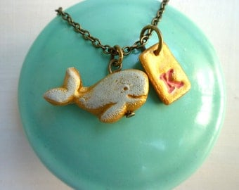 Whale Necklace, Whale and letter Necklace, Colorful Girl Jewelry, 3,4,5,6,7, 8, 9, year old girl birthday gift