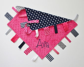 PERSONALIZED Ribbon Tag Blanket with Butterfly and Pacifier Clip, Navy and Pink, Large 16 x 16