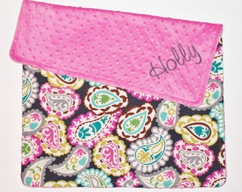 PERSONALIZED Baby Girl Paisley Blanket - Gray, Pink, Teal, Yellow, Green - Hot Pink Minky
