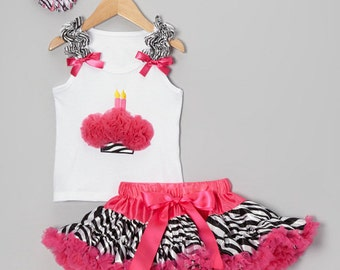 Girls Birthday Hot Pink & Zebra Cupcake 2 Candles Pettiskirt Set - Matching Flower Bow Included