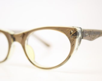 Unused Small Brown Cat Eye Glasses Cateye Frames Vintage Eyewear 1960s Eyeglasses New Old Stock