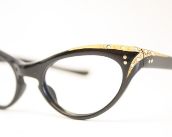 Black Rhinestone cat eye glasses vintage cateye frames eyeglasses