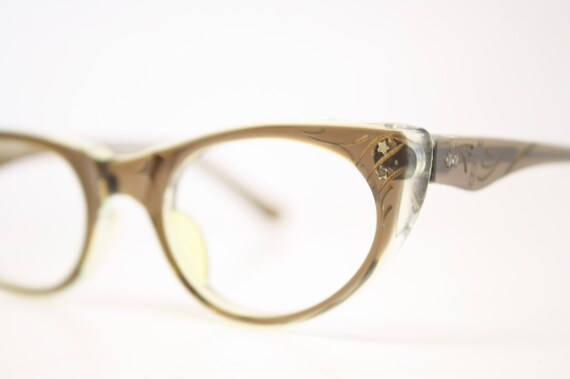 Small Frame Cateye Glasses : Unused Small Brown Cat Eye Glasses Cateye Frames Vintage