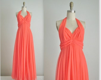 70's Chiffon Gown // Vintage 1970's Coral Chiffon Halter Goddess Evening Gown Maxi Dress