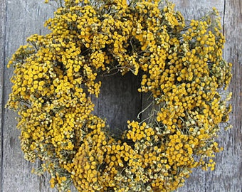 "12"" Tansy Wreath - Dried Flowers"