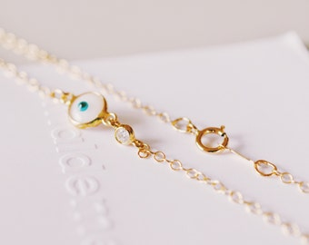 Tiny Evil Eye, Diamond CZ, Sideways, Gold Necklace, Layering Necklace, Nazar, Good Fortune, Good Luck, Turkish Jewelry, White Gold, Petite