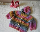Fuzzy Knit Rainbow Sweater and Matching Boots