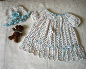 Little Princess Crocheted Dress and Hat Set
