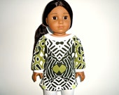 18 inch doll Boat neck long t shirt and leggings Olive, black, white