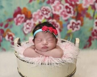 Hot Pink and Aqua Newborn Headband - Baby Headband - Small Flowers