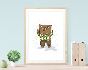 Square Bear - Childrens art print, Giclee illustration print
