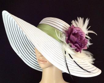 Kentucky Derby Hat with Purple Rose, Fascinator,Wide Brim Dress Hat ,Formal Dress Hat Wedding Tea Party Ascot  Horse Race