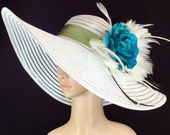 Blue & Green Kentucky Derby Hat, Fascinator, Teal Blue Rose ,Wide Brim Dress Hat ,Formal Dress Hat Wedding Tea Party Ascot  Horse Race