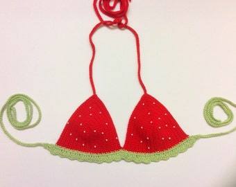 Crochet Bikini Top- Strawberry Fields Forever