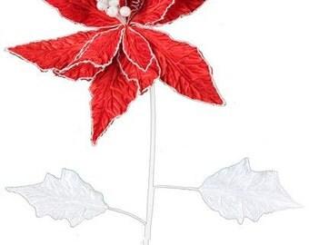 """29"""" Red White Velvet Poinsettia XS3382, Flower Decor, Deco Mesh Decor, Poly Mesh Decor"""