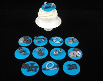 Edible Workout Cupcake Toppers, Father's Day Cupcake Toppers, Cupcake Topper, Manly Cupcake Toppers, Edible Cupcake Topper, Qty 12