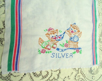 KITCHEN DISH TOWEL Stripe Print w/ Hand Embroidered Kittens w/ Silverware vintage 1940s 1950s