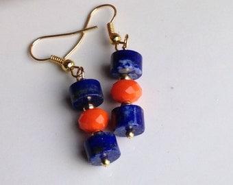Lapis Earrings, Orange Glass Earrings, Dangle Earrings, Drop Earrings, Beaded Earrings, Etsy Jewelry, Gold Plated Earwires