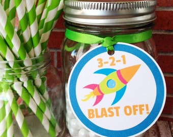 space birthday tags, rocket ship hang tags, custom blast off party tags, blue space hang tags--set of 12