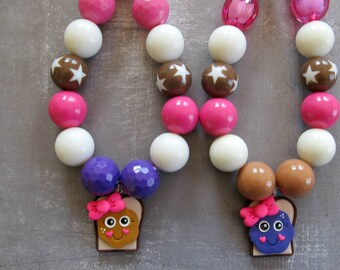 PB&J Peanut butter and jelly BFF necklace, BFF's, best friends forever, best friend gift, best friend jewelry, chunky bubblegum necklace