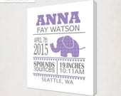 Elephant Birth Announcement Art Canvas // Personalized Canvas Print in Purple // Kids Nursery Wall Art // Elephant Birth Information Canvas