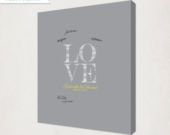 Yellow & Grey Custom Love Wedding Canvas // Personalized Wedding Guest Book Alternative Canvas // Housewarming Canvas for Guest Signatures