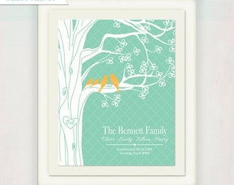 Personalized Family Tree with Names and Anniversary Date Print and Canvas // Green & Orange or Custom Colors // Wedding Sign // Love Birds