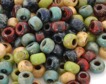 Seed Beads-11/0 Round-011 Hybrid Mix Opaque Picasso III-Miyuki-16 Grams