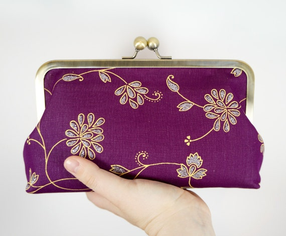 Violet clutch, sari clutch, indian wedding, purple and and gold sari frame clutch. Plum and floral clutch purse