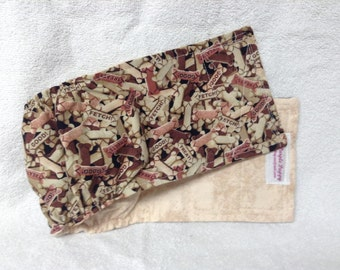 Male Dog Belly Band Diaper Britches Pet Wrap Doggie Pants Bones Treats On Brown Custom Sizes To 30 Inches