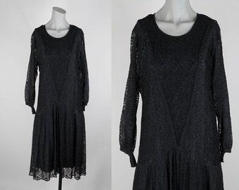 SALE Vintage 1920s Dress / 20s Black Lace and Silk Drop Waist Flapper Dress XS S M