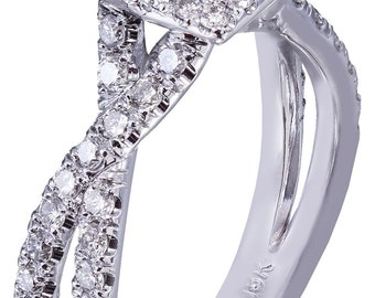 18k white gold princess cut diamond engagement ring art deco split shank 1.65ctw