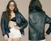 Black Leather Motorcycle Jacket EAGLE Embossed 80s Biker Moto Zippers 1980s Rock N Roll Unisex / Size M Medium