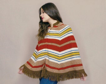 70s Poncho Cape Striped Knit Fringe 1970s Hippie Sweater Fringe Brown Mustard Yellow / OS One Size