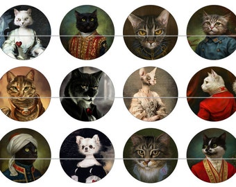 "Cat Magnets, Cat Pins, Victorian Cat Magnets, Dressed Victorian Cats, 1"" Flat, Cabs, Hollow Backs, 12 ct"