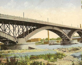 Peace Bridge Over Niagara River Looking Toward Buffalo from Fort Erie Ontario – Unused Vintage Postcard