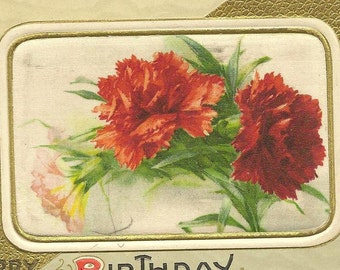 Silk Panel of Pink and Red Carnations on Vintage Birthday Postcard 1912 – Elegant Embossed Greeting