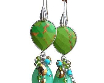 Summer Grass Green Chrysoprase Pear Double Drop Earrings