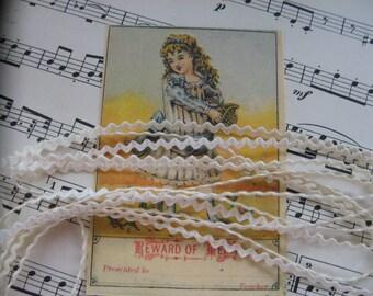 Tiny Tiny Vintage Rick Rack Trim....new old stock...1930s...ivory color...lot/10 yards