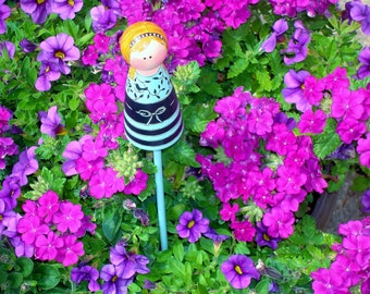 "Plant Stake ""Garden Girls"" Hand Painted Peg People to Coordinate with Pots - Made to Order"